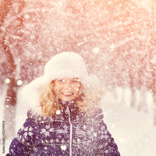 Foto op Canvas Wit girl in the winter. child outdoors