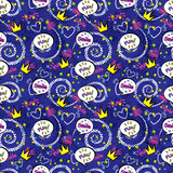 Abstract seamless pattern for girls,boys, clothes. Creative vector background with pop art comics speech bubbles, clouds,words..Funny wallpaper for textile and fabric. Fashion style. Colorful bright.