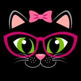 Cute black kitten with pink bow and glasses. Girlish print with kitty for t-shirt