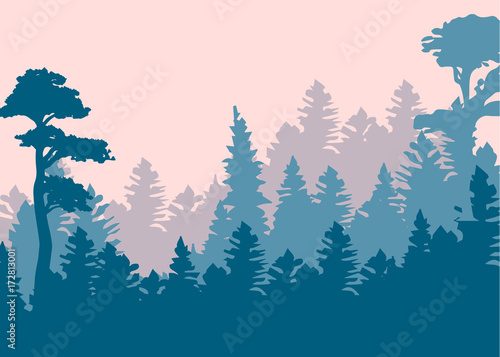 Fotobehang Purper Vintage forest design template. Vector illustration