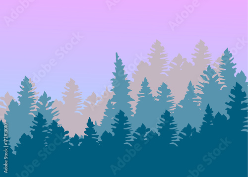 Tuinposter Purper Vintage forest design template. Vector illustration