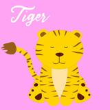 Cute tiger baby girl cartoon vector