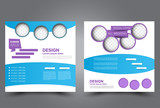 Square flyer template. Brochure design. Annual report poster. Leaflet cover. For business and education. Vector illustration. Blue and purple color. - 172814808