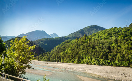 Summer panorama of Alps mountains