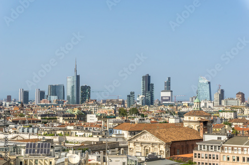 Tuinposter Milan Milan skyline with modern skyscrapers