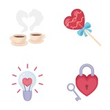 Cups with coffee, valentine, lamp, lock with key. Romantic set collection icons in cartoon style vector symbol stock illustration web.