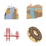 A megacity, a grand canyon, a golden gate bridge,donut with chocolate. The US country set collection icons in cartoon style vector symbol stock illustration web. - 172820628