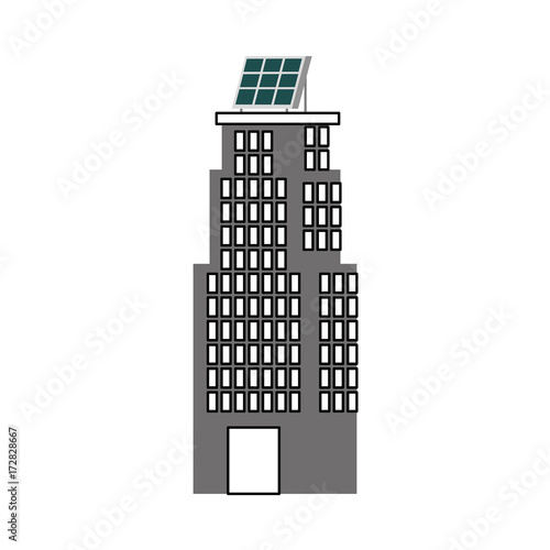 Poster green energy urban ecology nature house or business building with solar panel vector illustration