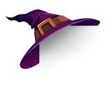 Witch Hat. Holiday card with witch hat on corner. - 172830027