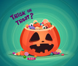 Trick or Treat. Halloween pumpkin bucket with candy. - 172830030