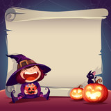 Halloween Paper Scroll. Halloween scroll sign with little witch and jack-o-lantern. - 172830074
