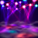 Dance floor banner, Light and smoke on stage. Vector illustration