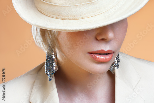 Close up shot of the full lips young blond woman Poster