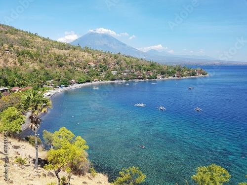 Fotobehang Bali City of Amed with Mount Agung in the background - Bali