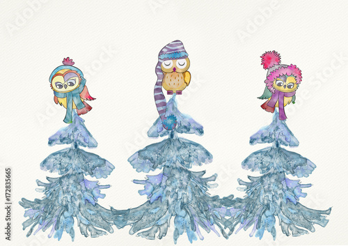 Foto op Aluminium Uilen cartoon Winter owls. Watercolor.