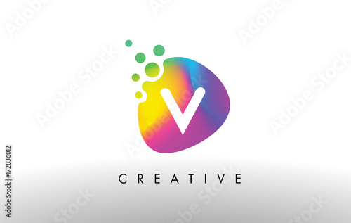 Poster V Colorful Logo Design Shape. Purple Abstract Shape Letter Icon.