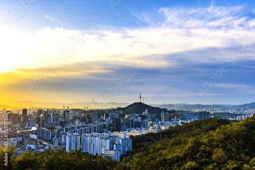 Fotobehang Seoel Morning time at Seoul city skyline.