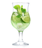 Lime with mint cocktail isolated on white - 172843017