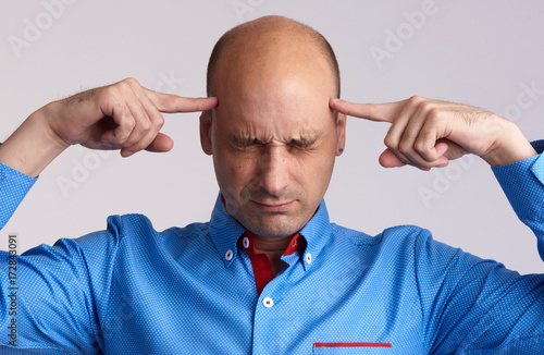 bald man thinking too hard Poster
