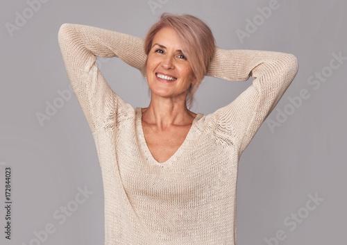 Poster portrait of beautiful mature woman