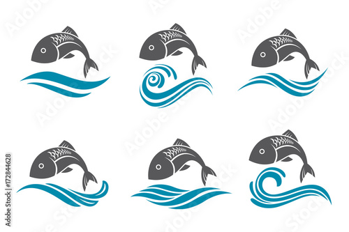 collection of fish icon with waves