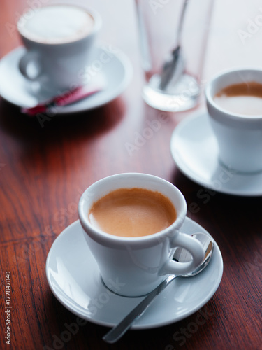 Espresso coffee cups on table Poster