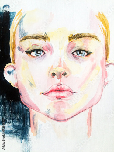 watercolor fashion sketch. portrait - 172848827