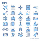 Travel and vacation thin line icons set: plane, tickets, hotel, sights and place for text. Vector illustration.