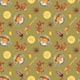Watercolor tea pattern - 172851673