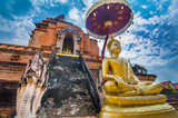 Buddha and Chedi in Wat Chiang Man, Chiang Mai, Thailand. - 172854604