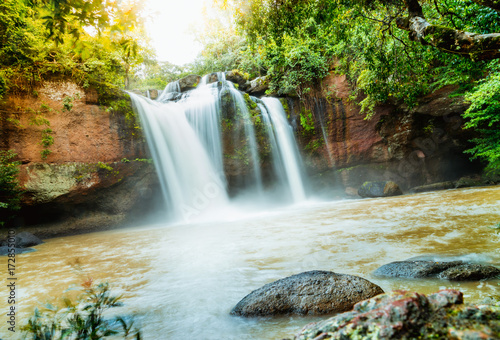 Staande foto Bangkok Heo Suwat Waterfall in Khao Yai National Park in Thailand