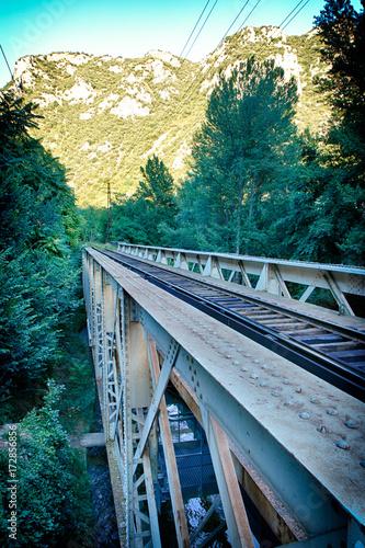 In de dag Spoorlijn Le pont du chemin de fer de Villefranche de Conflent