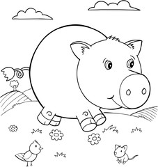 Cute Pig Vector Illustration Art
