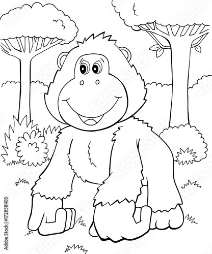 Fotobehang Cartoon draw Cute Gorilla Vector Illustration Art