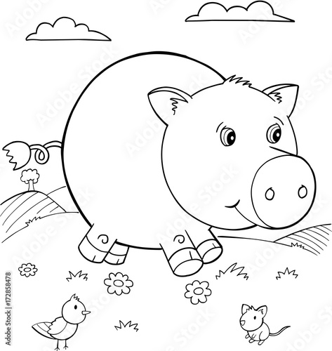 Fotobehang Cartoon draw Cute Pig Vector Illustration Art