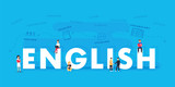 Fototapety English word for education with icons flat design. Vector polyglot typographical wordcloud with mutiple words
