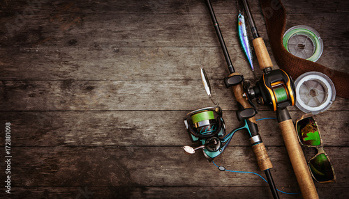 Fishing tackle background. - 172881098