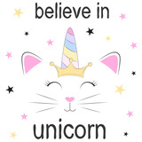 Cute fantasy cat princess unicorn. Sweet kids graphics for t-shirts.
