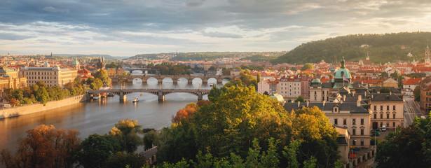 Evening Prague from Letenske sady