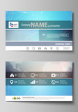 The minimalistic abstract vector illustration of the editable layout of two creative business cards design templates. Molecule structure. Science, technology concept. Polygonal design.