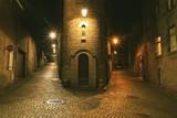 Night street scene in Saint Malo, Brittany, France