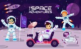 Children play and have fun in space on the moon , banner or poster cool vector design illustration