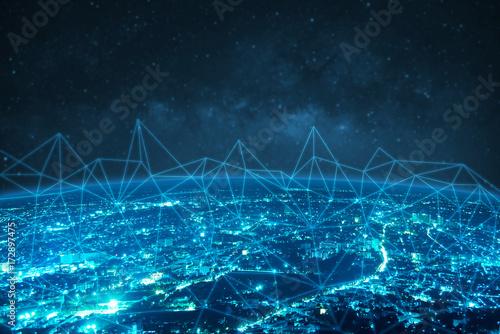 blue night modern city with milky way sky background