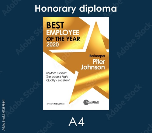 diploma best employee of the month golden template with gold metal