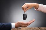 Car Dealer Giving Key To Businessperson