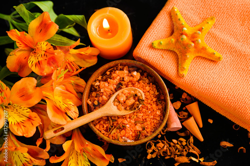 Papiers peints Spa Spa background-towel, orange orchid, and spoon ,petals in bowl, starfish