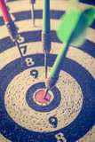 dart arrow hitting in the target center of dartboard,abstract of success - 172908696