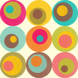 Vintage seamless pattern with around motif. Retro background.