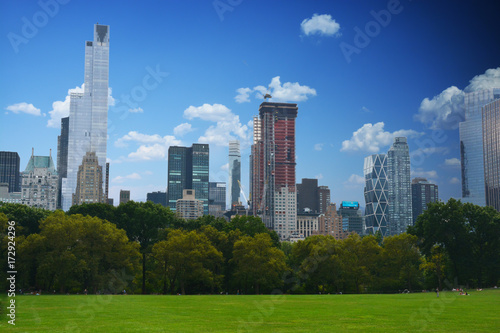 Panoramic view of Manhattan from Central Park in a beautiful summer day Poster