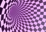 Abstract pink checkered tunnel in a light fog. 3D rendering.